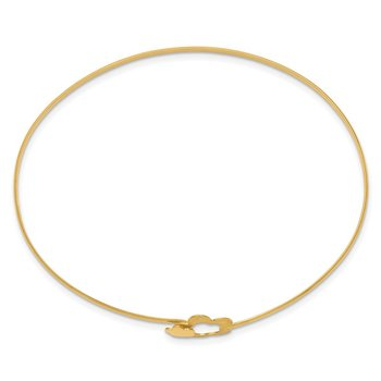 14K Brushed and Polished Flowers Bangle
