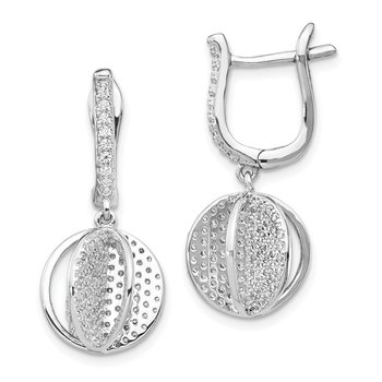 Sterling Silver CZ Sphere Dangle Earrings