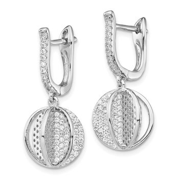 Sterling Silver CZ Sphere Leverback Earrings