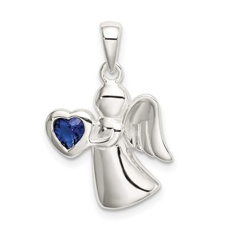 Sterling Silver Angel w/Dark Blue CZ Heart Pendant