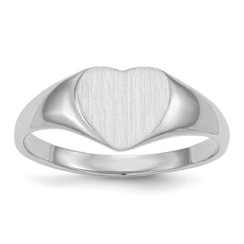14k White Gold 8.5x9.0mm Closed Back Heart Signet Ring