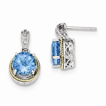 Sterling Silver w/14ky Blue Topaz Diamond Post Dangle Earrings