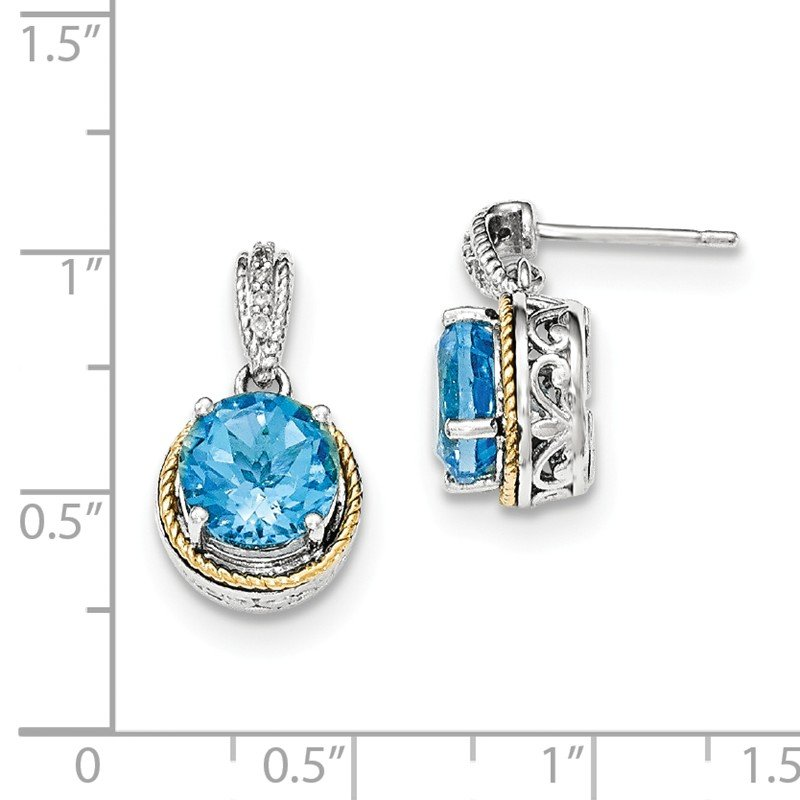 Shey Couture Sterling Silver w/14ky Blue Topaz Diamond Post Dangle Earrings