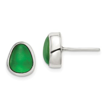 Sterling Silver Green Sea Glass Stud Earrings