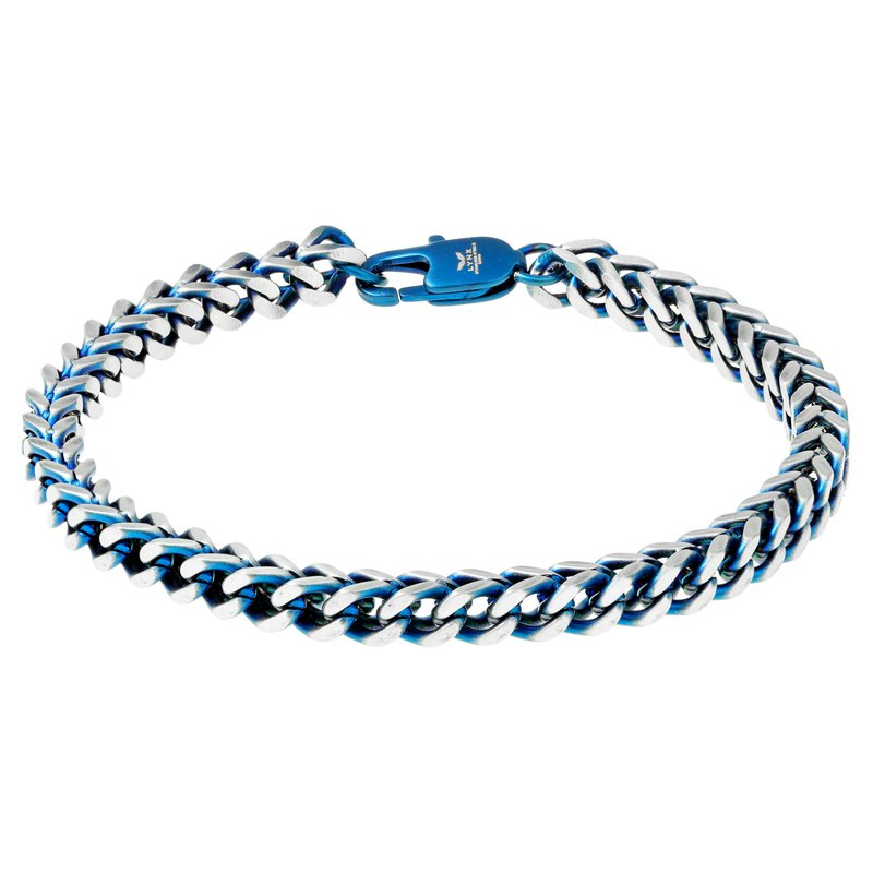 Lynx Stainless Steel Blue Ion Plated Thin Bracelet - 5 MM Wide, 8.5 Inches Length with Clasp