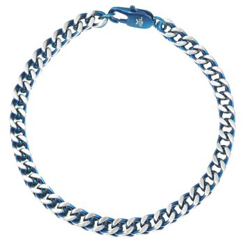 Stainless Steel Blue Ion Plated Thin Bracelet - 5 MM Wide, 8.5 Inches Length with Clasp