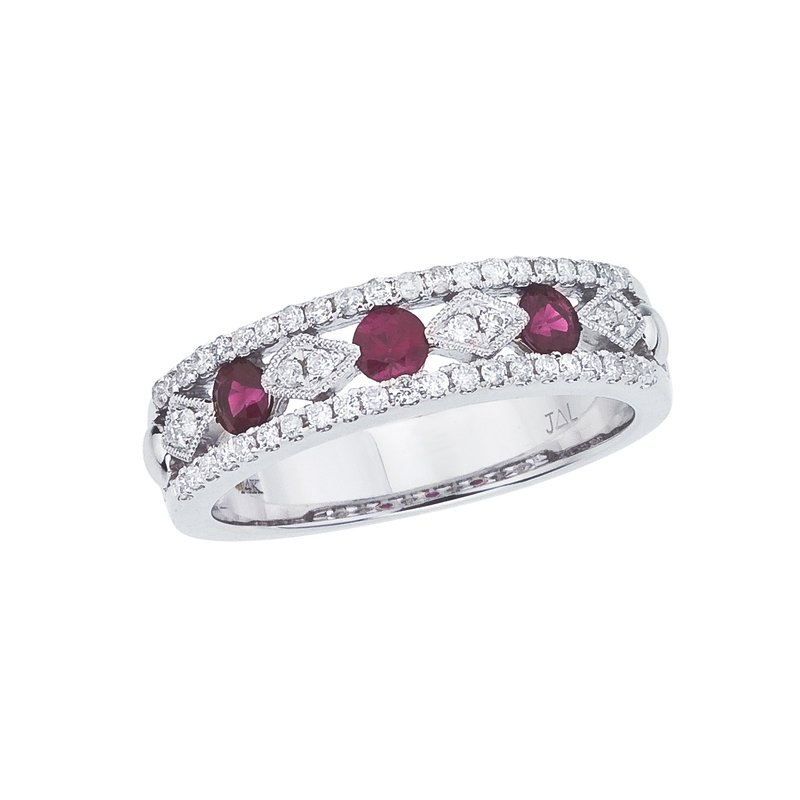 Color Merchants 14k White Gold Ruby and Diamond Band