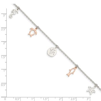 Sterling Silver Rose-tone Seashore Dangles 9in Plus 1in Ext. Anklet