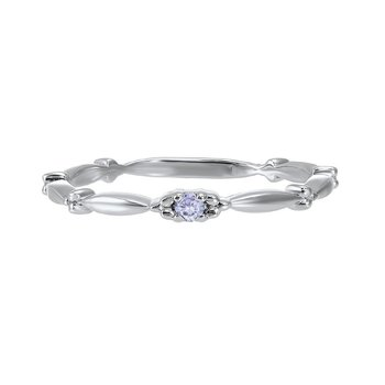 Synthetic Alexandrite Solitaire Antique Style Slender Stackable Band in 10k White Gold