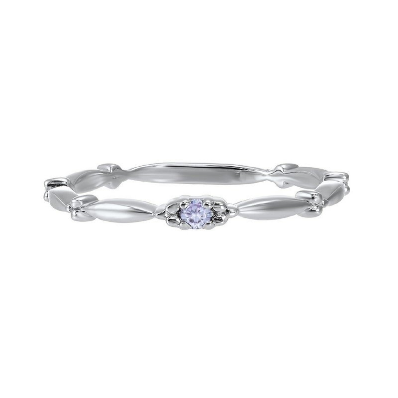 Gems One Synthetic Alexandrite Solitaire Antique Style Slender Stackable Band in 10k White Gold