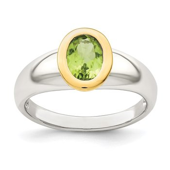 Sterling Silver w/ 14K Accent Peridot Oval Ring