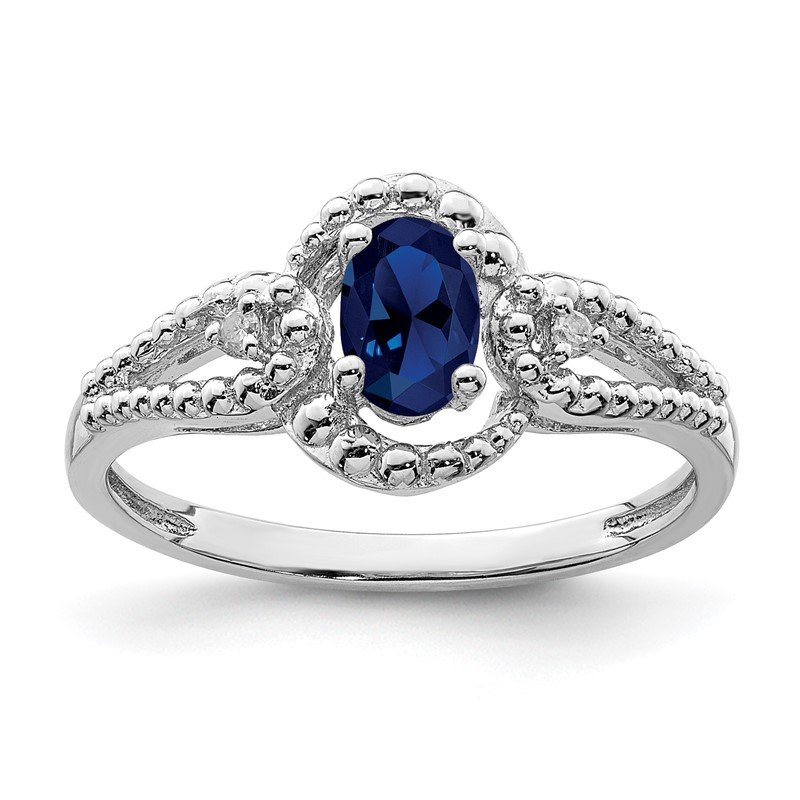 Quality Gold Sterling Silver Rhodium-plated Created Sapphire & Diam. Ring