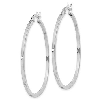 Sterling Silver Rhodium-plated 1.5x40mm Hoop Earrings