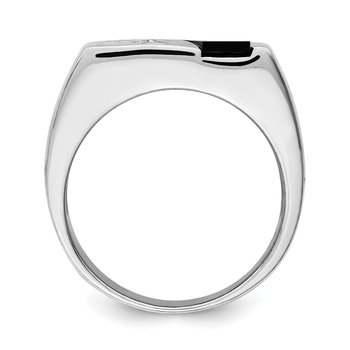Sterling Silver Rhodium-plated Men's CZ and Onyx Ring