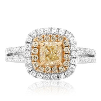Split Setting Yellow Diamond Ring