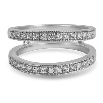 14K WG and diamond Insert graduating band for Engagement ring in pave setting
