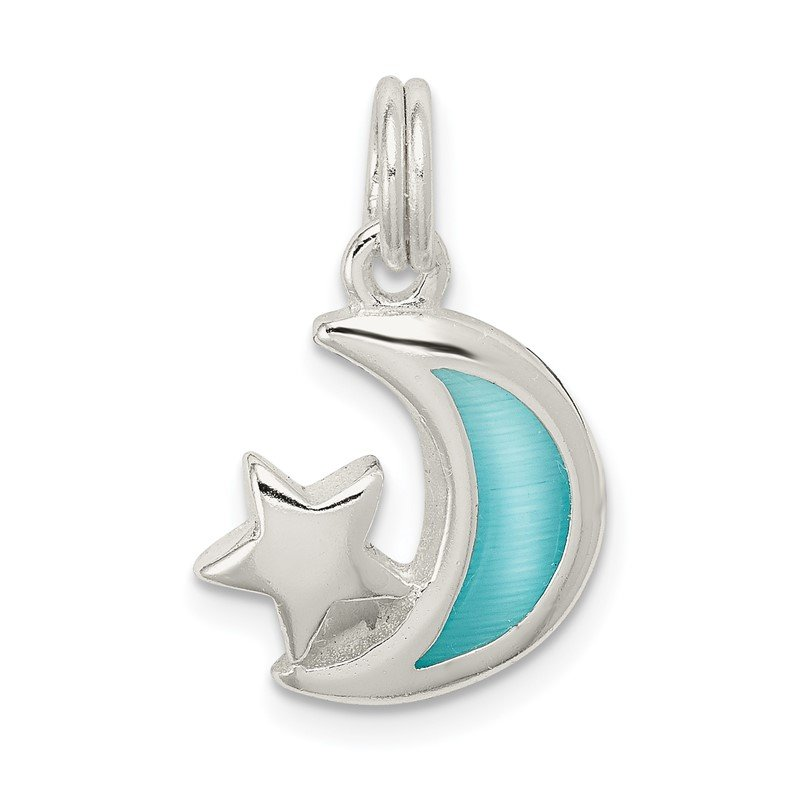 Quality Gold Sterling Silver Blue Enameled Moon & Star Charm