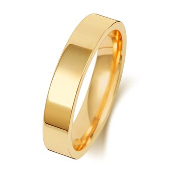 18Ct Yellow Gold 4mm Flat Court Wedding Ring