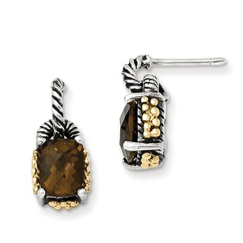 Sterling Silver w/14k Smoky Quartz Earrings