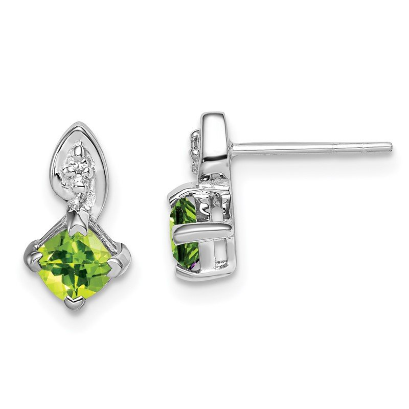 Quality Gold Sterling Silver Rhodium Plated Diamond Peridot Post Earrings