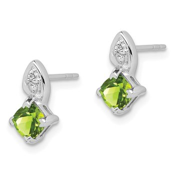 Sterling Silver Rhodium Plated Diamond Peridot Post Earrings