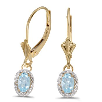 10k Yellow Gold Oval Aquamarine And Diamond Leverback Earrings