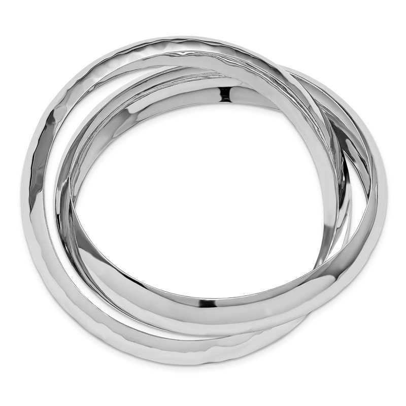 Leslie's Leslie's Sterling Silver Polished and Hammered Double Slip-on Bangle