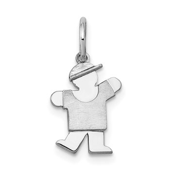 14k White Mini Boy Kiss Charm