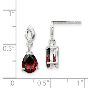 Sterling Silver Polished Red Glass Dangle Post Earrings