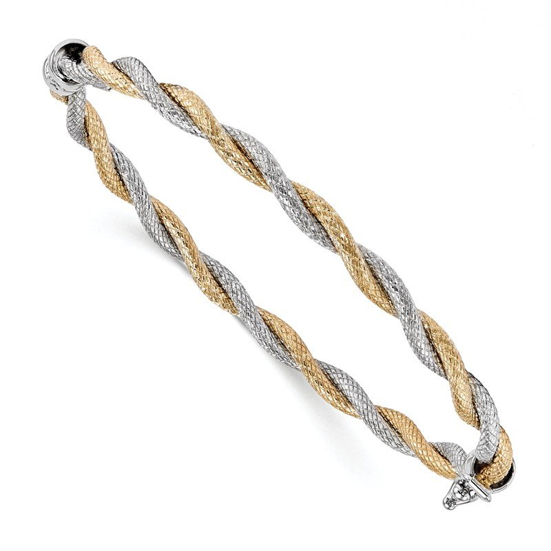 Leslie's Leslie's 14K Two-tone Textured Hinged Bangle
