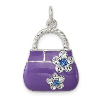 Sterling Silver Purple Enameled CZ Purse Charm