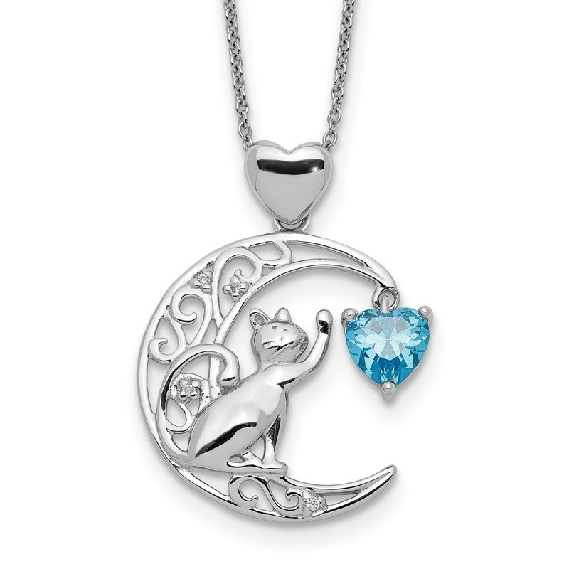 Quality Gold Sterling Silver Blue and Clear CZ Cat and Moon Necklace