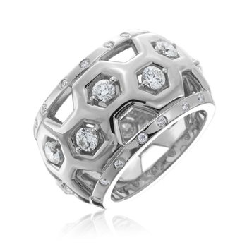 "Honeybee ""B"" Diamond Honeycomb Motif Medium Dome Ring R881DG"