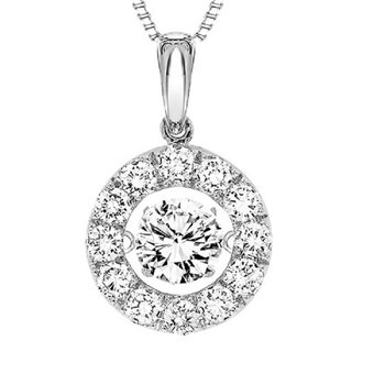 14K Diamond Rhythm Of Love Pendant 1 1/2 ctw