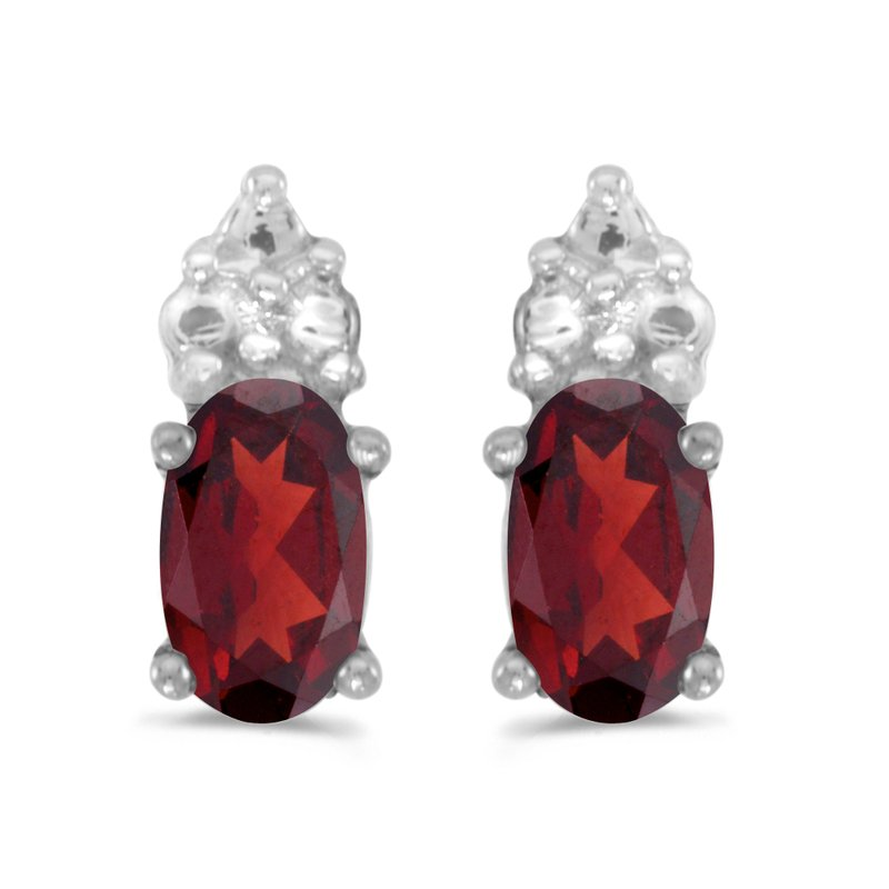 Color Merchants 10k White Gold Oval Garnet Earrings