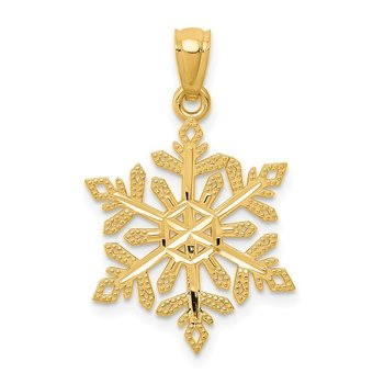 14k Diamond -Cut Snowflake Pendant