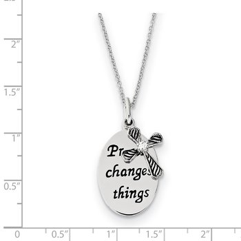 Sterling Silver Antiqued CZ Prayer Changes Things 18in Cross Necklace