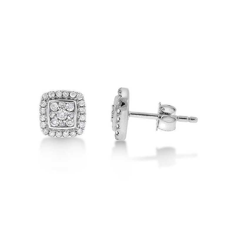 KC Designs Diamond Square Cluster Earrings in 14K White Gold with 58 diamonds weighing .40ct tw