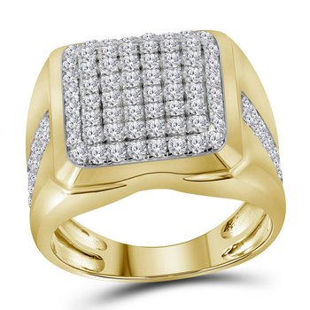 10kt Yellow Gold Mens Round Diamond Square Cluster Fashion Ring 2.00 Cttw