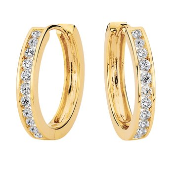 Channel set Diamond Hoops in 14k Yellow Gold (3/4 ct. tw.) HI/SI2-SI3