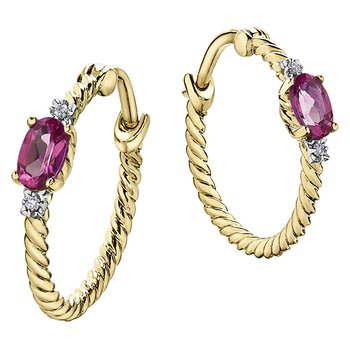 Pink Topaz Hoop Earrings