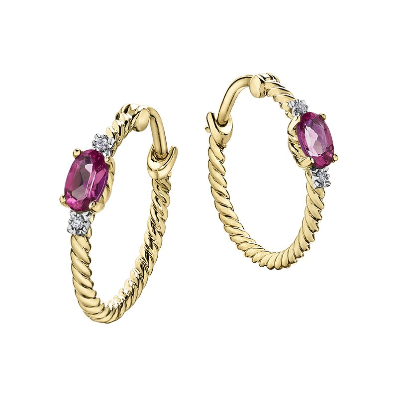 Diamond Days Pink Topaz Hoop Earrings