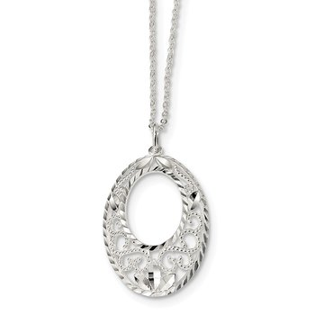 Sterling Silver Diamond Cut Open Oval Filigree Necklace
