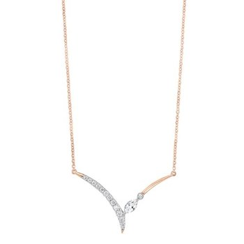 Diamond V-Shaped Chevron Pendant Necklace (1/3 ctw)