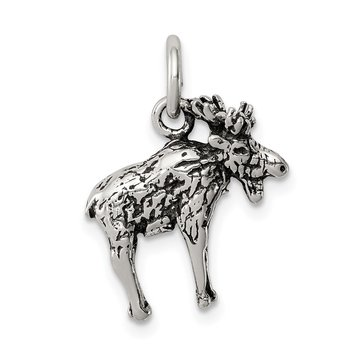 Sterling Silver Antiqued Moose Charm