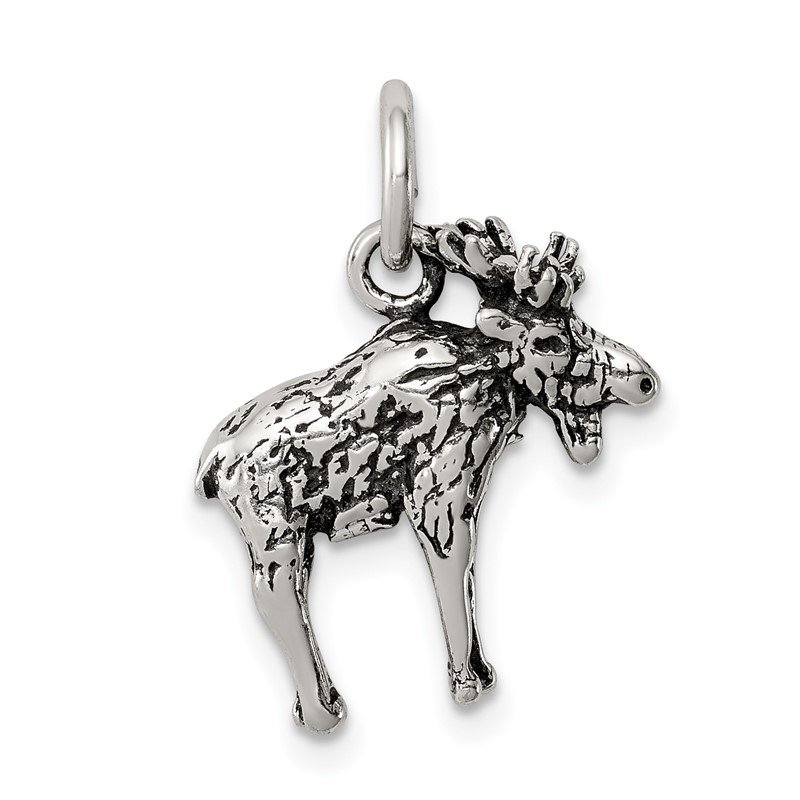 Quality Gold Sterling Silver Antiqued Moose Charm