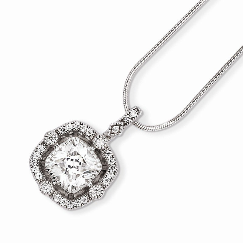 Quality Gold SS Rhodium-Plated & CZ Brilliant Embers Necklace