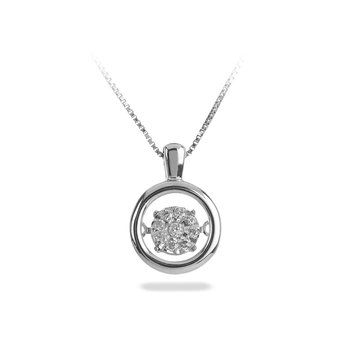 10K WG Diamond Round Cluster Dancing Diamond Pendant