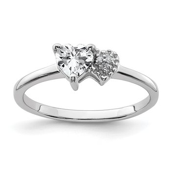 Sterling Silver White Topaz Heart and Diamond Ring