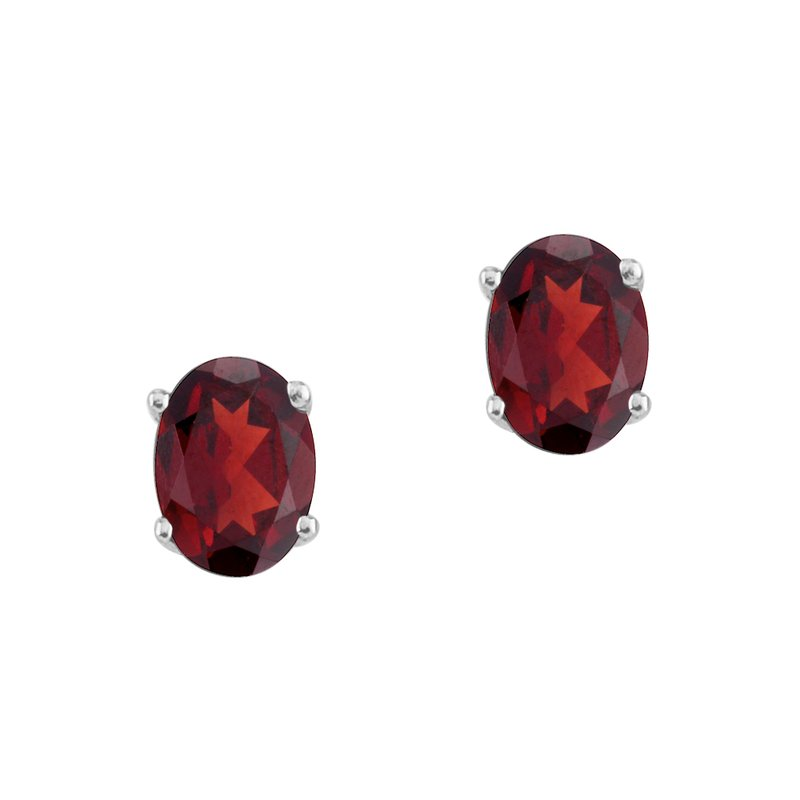 Color Merchants 14k White Gold Oval Garnet Stud Earrings